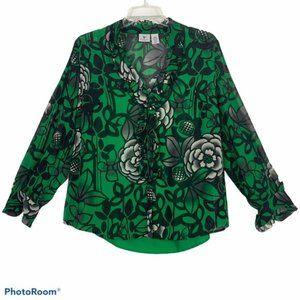 Worthington 1X blouse kelly green layered ruffles